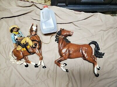 Universal Statuary Rearing Mustang Horse &  Cowboy 2 piece Wall Hanging  1970's