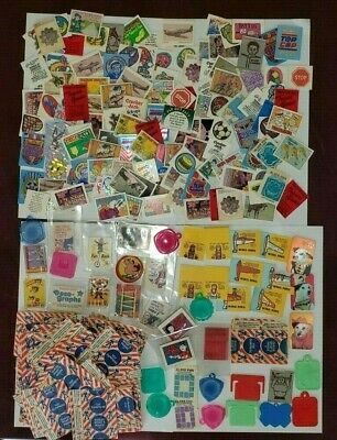 Cracker Jack 214 Prize Lot from 1950s - 1990s + Unopened Prizes Tattoo Pinball