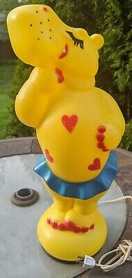 Vintage Empire Yellow Hippo Blow Mold Hearts Tutu 1974 Valentine's Day HTF