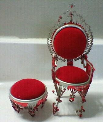 Folk art Coca-Cola Coke can miniature chair throne and footstool ottoman