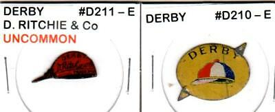 """LOT of 2 DIFFERENT """"DERBY"""" HAT CAP VINTAGE TIN LITHOGRAPHED TOBACCO TAGS"""