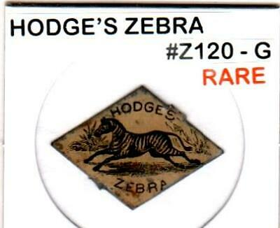 Hodge's Zebra *Uncommon* Vintage Tin Lithographed Tobacco Tag