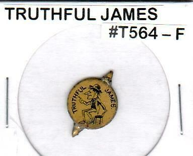 """""""Truthful James"""" Cartoon Comical Tin Lithographed Tobacco Tag *Uncommon*"""
