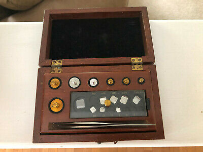 Antique Christian Becker NY Apothecary Laboratory Jeweler Weights in Wood Box