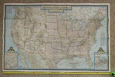 Vintage 104 x 67cm National Geographic Map 1946 USA United States of America