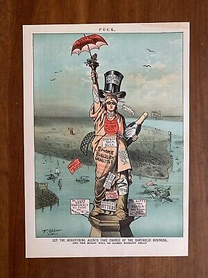 New York City 1880s advertising out of control Puck Opper cartoons