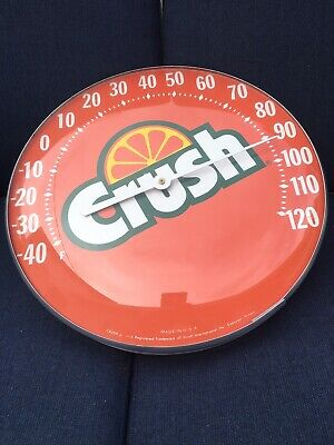Vintage Orange Crush Round Bubble Glass Advertising Thermometer Sign Gas Station