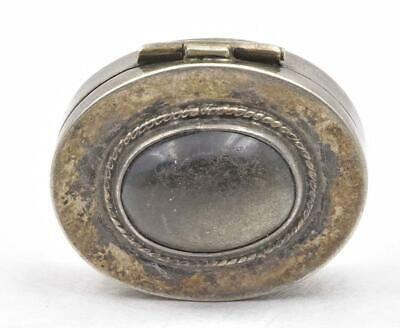 Vintage Sterling Silver made in Mexico Black gemstone Onyx ladies Pill Box OLDER