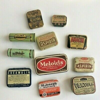 Collection Of Antique Tin Pill Boxes