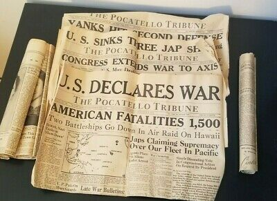 1941 and 1944 Newspapers Headlines - DEC. 8th, War Declared! Pocatello Paper