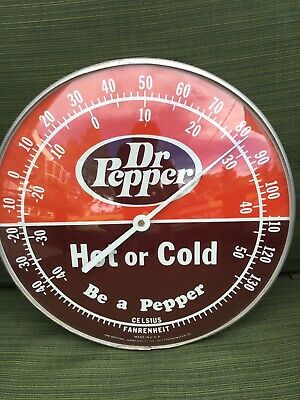 "Vintage 1960s Dr Pepper Soda Pop Gas Oil 12"" Metal & Glass Thermometer Sign~Nice"