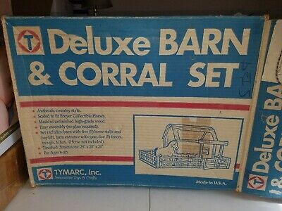 Vintage Tymarc Deluxe Barn & Corral Set (Real Wood)