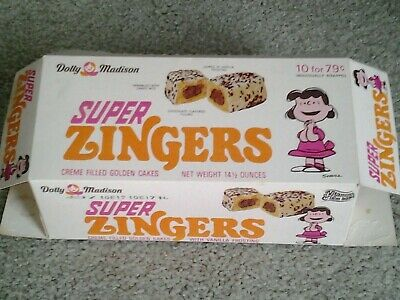 Dolly Madison Peanuts Snoopy LUCY on ZINGERS CAKES 1970's era original RARE BOX!