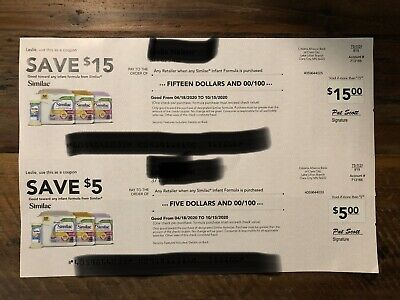 Similac $20 Coupon Checks (1 X $5) and (1 X $15) Expire 10/15/20