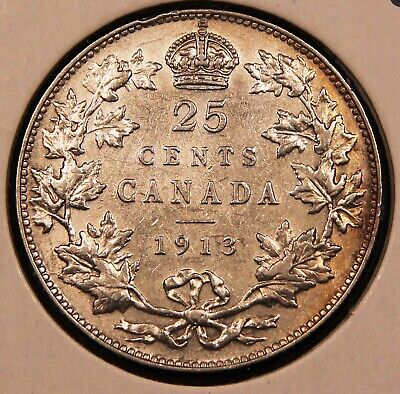 1913 Canada Silver 25 Cents. High grade, lots of lustre. 99c start, no Reserve!