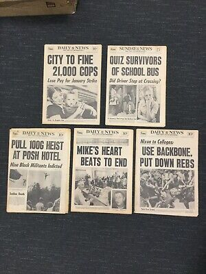 Lot Of 5 - Five Complete New York Daily News Newspapers From 1968 To 1973