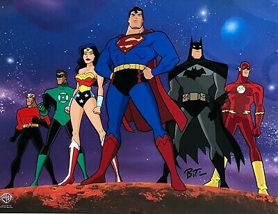 BRUCE TIMM rare JUSTICE LEAGUE ltd CM 5/5 cel SIGNED Concept Art WBSS COA
