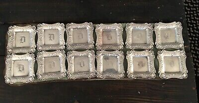 "Set Of 12 Vintage Sterling Silver Personal Ashtrays ""D"" Monogram"