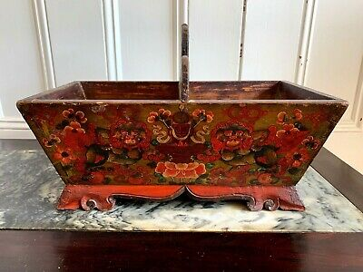 Antique Tibetan Hand Painted Divided Box~CHIMAH