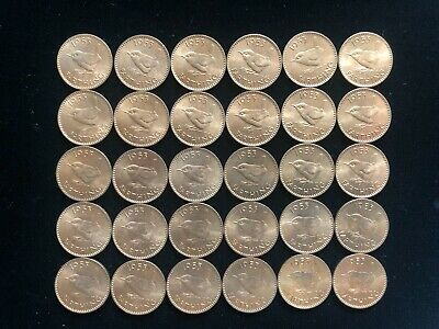Lot of 30 UK farthing coins, all 1953 from mint roll, see photos