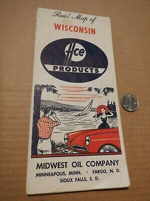 1962 Ace Products~Wisconsin~Midwest Oil Company Road Map Gasoline Motor Oil Gas