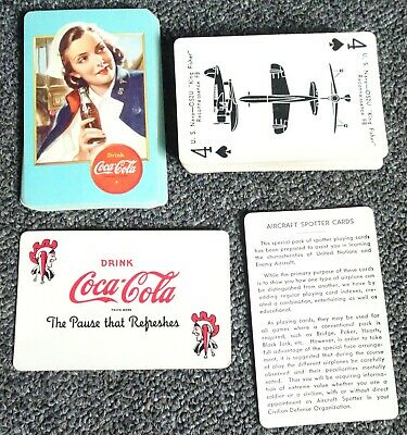 1943 Ww2 Airplane Spotter Coca-Cola Advertising Playing Cards - Military Nurse!!