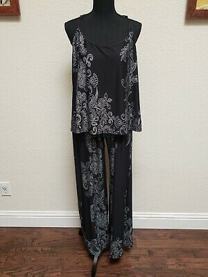NWT In Bloom by Jonquil Black/Ivory FLORAL Slinky Knit Pajama Set XL