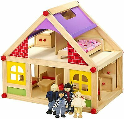 BNIB URBN Toys  Wooden Dolls House with furniture & figures play set