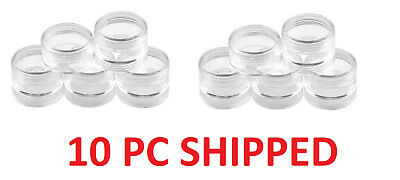 "10 Storage Container Set Plastic, Round  Screw Top 1-1/2"" (Dia) x heigh 7/8"""