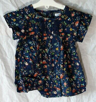 NEW! Vertbaudet Blue Orange Ditsy Floral Short Sleeve Blouse Top Age 3 Years