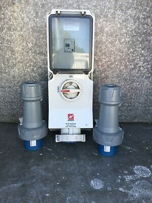 Mennekes 63amp  3 pin.  3 phase breaker and plugs. isolator