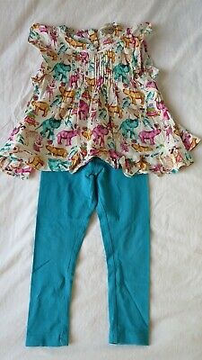 Next Girls Blue Floral Top/Dress And Leggings Outfit Age 4 Years