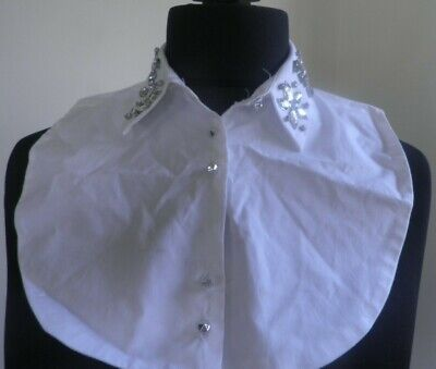 River Island White Cotton Embellished Collar Bib One Size