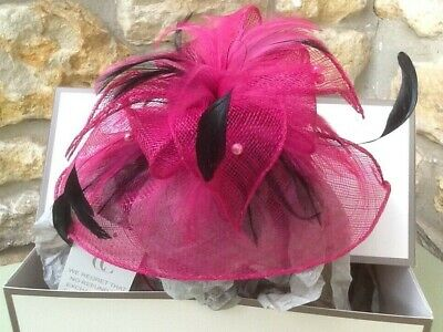 Fascinator, cranberry with black feathers and pink pearls, on band