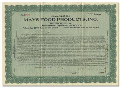 Mays Food Products Incorporated Bond Certificate (New Orleans)