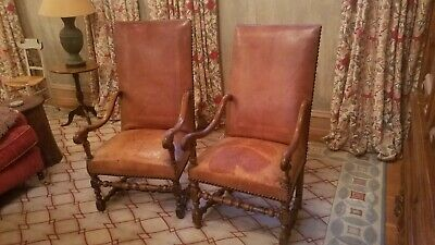 Pair of Fine 17th Century Louis XIII Armchairs Antique leather