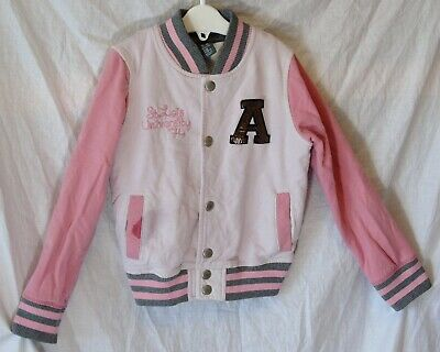 Girls Zara Dusky White Pink University Baseball Bomber Jacket Age 5-6 Years