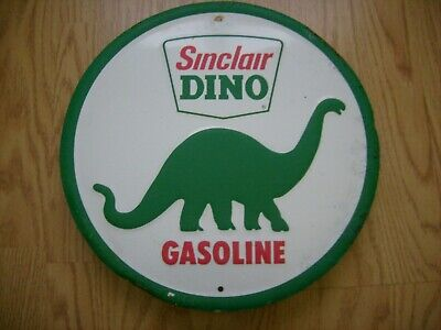 Sinclair Gas Retro Metal Tin Ad Sign MADE USA Dinosaur Picture Garage Oil Gift