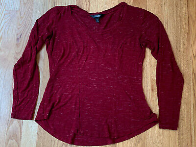 Simply Vera Vera Wang Womens Red White Speckled Long Sleeve Scoop Neck Top XS