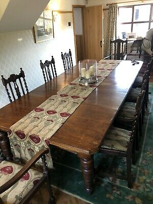victoria Oak wind out dining table and barley twist chairs