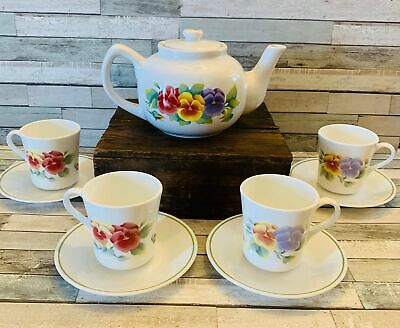 """(9pc) Corelle Jay Imports """"SUMMER BLUSH"""" Pansy Tea/Coffee Pot w/Service for 4"""