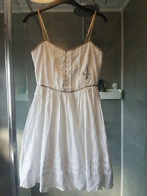 Cute River Island white cotton dress embroidered beading size 10