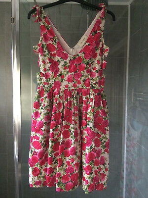 Stunning River Island White pink Rose pattern Cotton Tea dress sz 8 bow shoulder