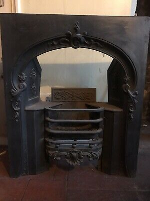 Early  Victorian Original Carron Cast Iron Hob-grate Fireplace Insert & Gas Fire