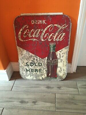 Vintage CocaCola Sign N.L.Cowling (Charlton) Painted Aluminium Not Tinplate