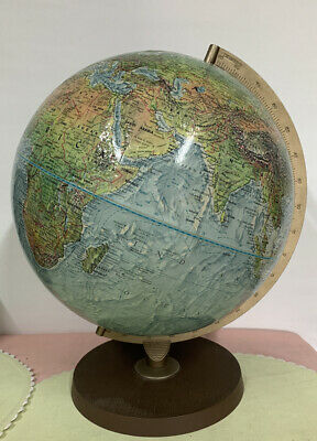 Vintage Diameter Replogle World Book Series Rotating Globe Made in USA Raised