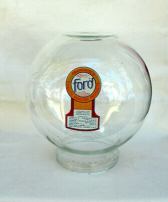Original Ford Gumball  Vending Machine glass globe Fired on decal with scratch