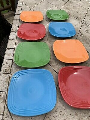 Fiestaware 8 Square Dinner Plates Dishes Colors Green Red Blue