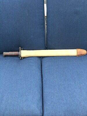 Antique WW1 199051 Bayonet S.A. 1907 Canvas Scabbard Springfield Armory