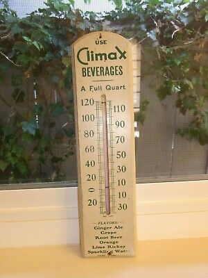 Vintage Working 1937 Patent Use Climax Beverages Wood Wall Soda Pop Thermometer